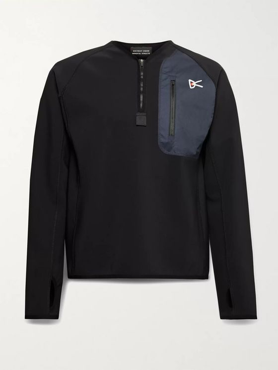 DISTRICT VISION Rocco Logo-Print Shell-Trimmed Neoprene Half-Zip Top