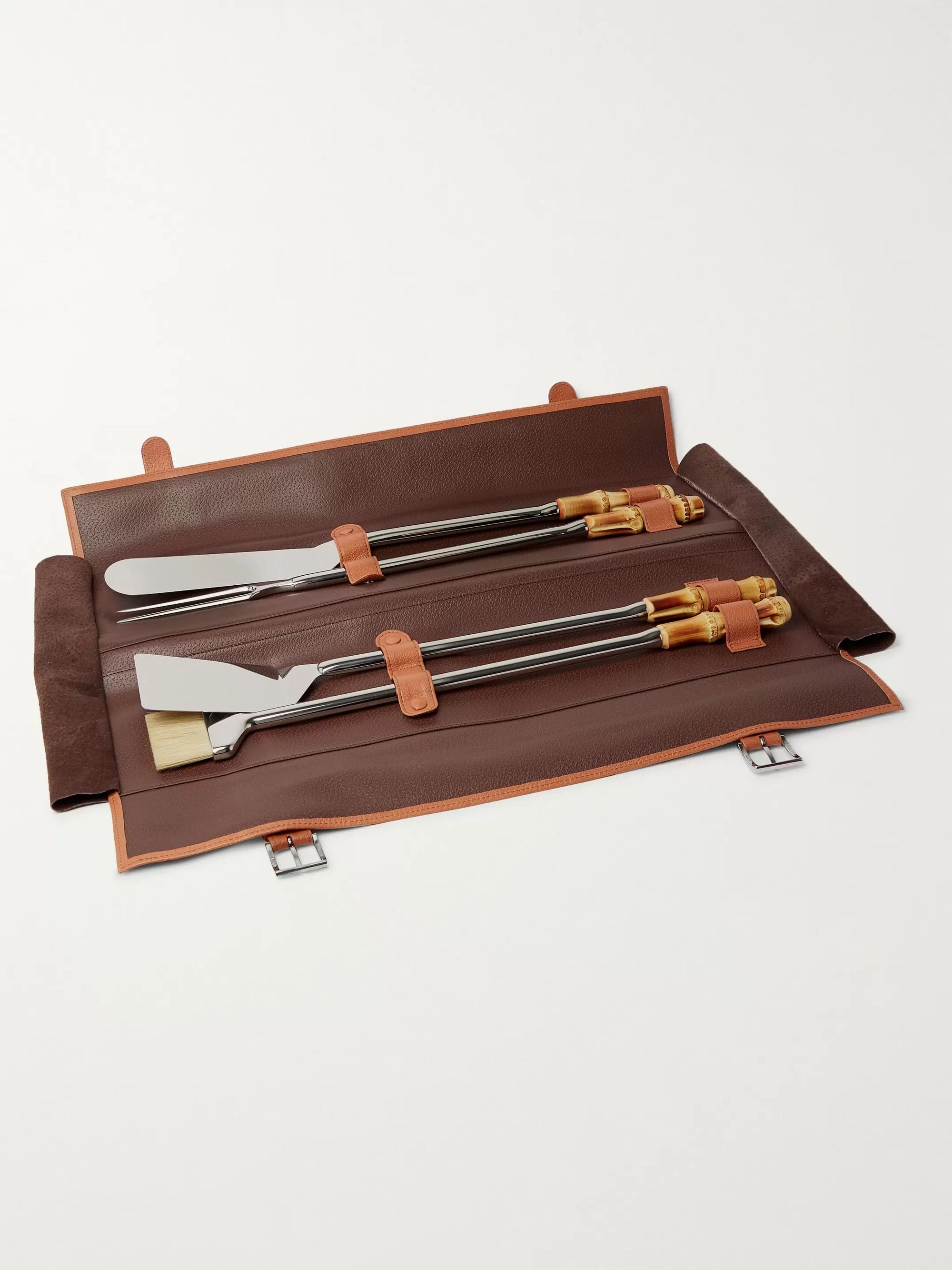 LORENZI MILANO Bamboo, Leather and Stainless Steel Travel BBQ Set