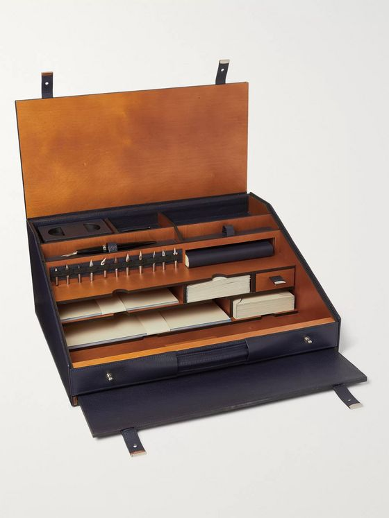 Pineider Cherry Wood and Leather Travel Desk Set