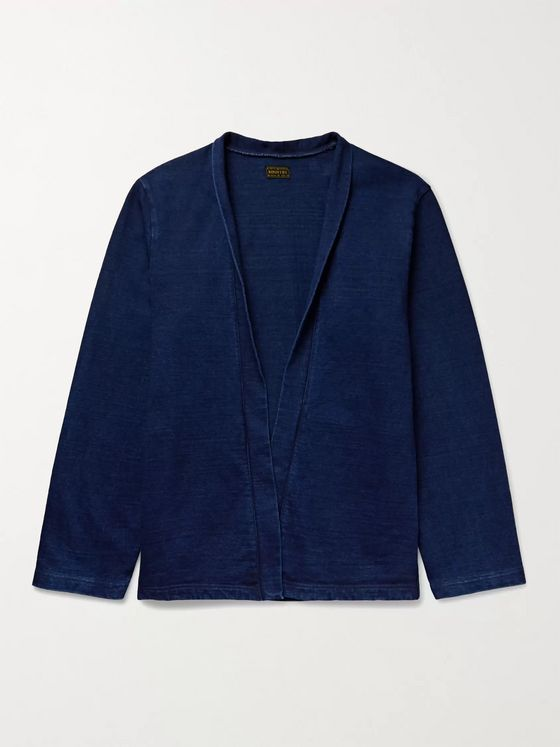 KAPITAL Indigo-Dyed Printed Cotton-Jersey Shirt Jacket