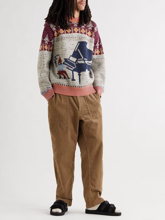 KAPITAL Wool and Cotton-Blend Jacquard Sweater