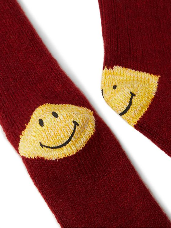 KAPITAL Ivy Smilie Striped Cotton-Blend Socks