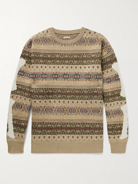 KAPITAL Intarsia Fair Isle Wool-Blend Sweater