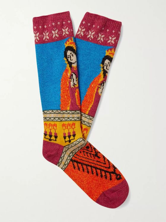 KAPITAL Maria Intarsia Cotton-Blend Socks