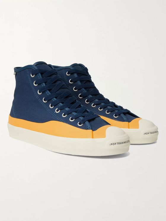 CONVERSE + Pop Trading Company Jack Purcell Rubber-Trimmed Canvas High-Top Sneakers