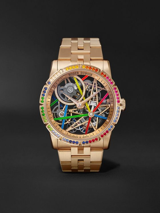 ROGER DUBUIS Excalibur Blacklight Limited Edition Automatic Skeleton 42mm 18-Karat Pink Gold and Multi-Stone Watch, Ref. No. RDDBEX0861