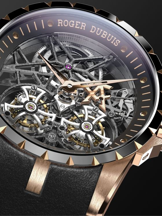 Roger Dubuis Excalibur Limited Edition Hand-Wound Skeleton Double Flying Tourbillon 45mm Rose Gold and Leather Watch, Ref. No. RDDBEX0795