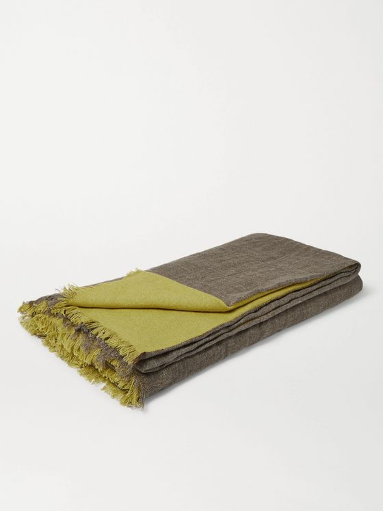 R+D.LAB Fringed Two-Tone Linen, Cashmere and Silk Blanket