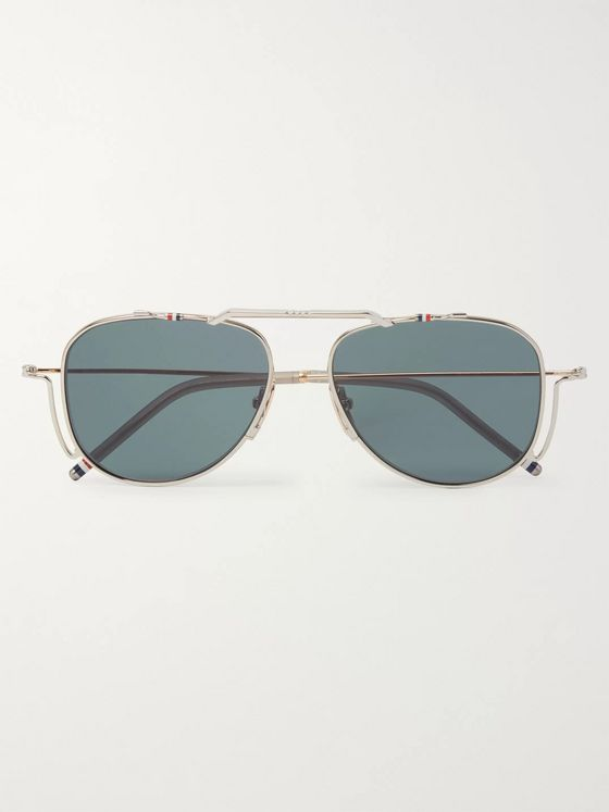 Thom Browne Aviator-Style Silver- and Gold-Tone Sunglasses