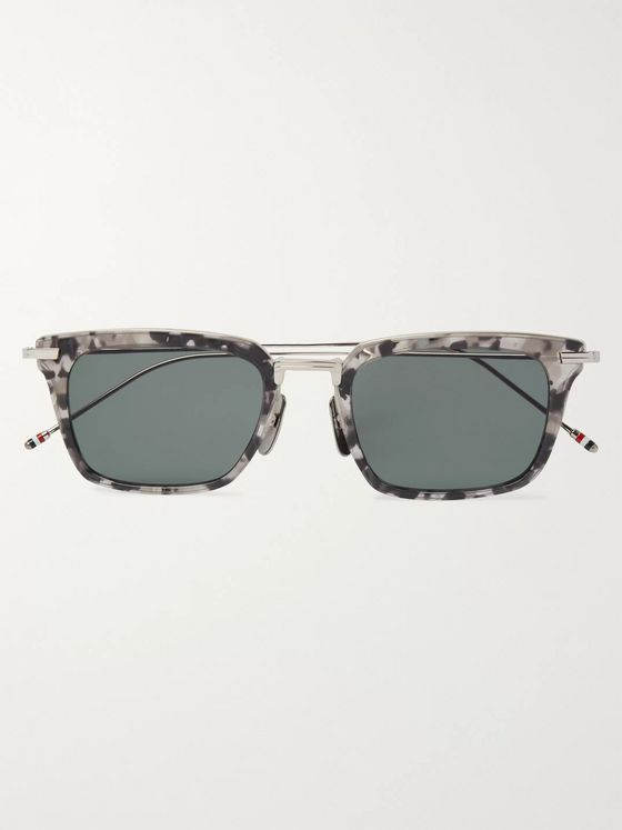 Thom Browne Square-Frame Tortoiseshell Acetate and Silver-Tone Sunglasses