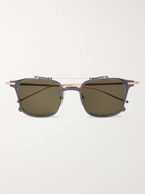 Thom Browne Aviator-Style Gold-Tone and Matte-Metal Sunglasses with Clip-On UV Lenses