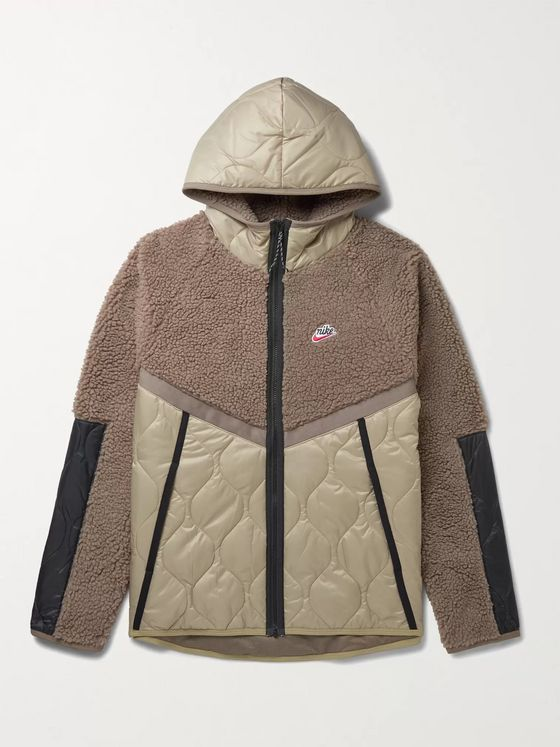 NIKE NSW Panelled Fleece and Quilted Shell Hooded Jacket