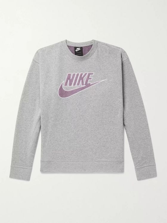 Nike Logo-Appliquéd Mélange Loopback Cotton-Blend Jersey Sweatshirt
