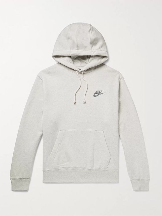 Nike Sportswear Logo-Print Mélange Fleece-Back Cotton-Blend Jersey Hoodie
