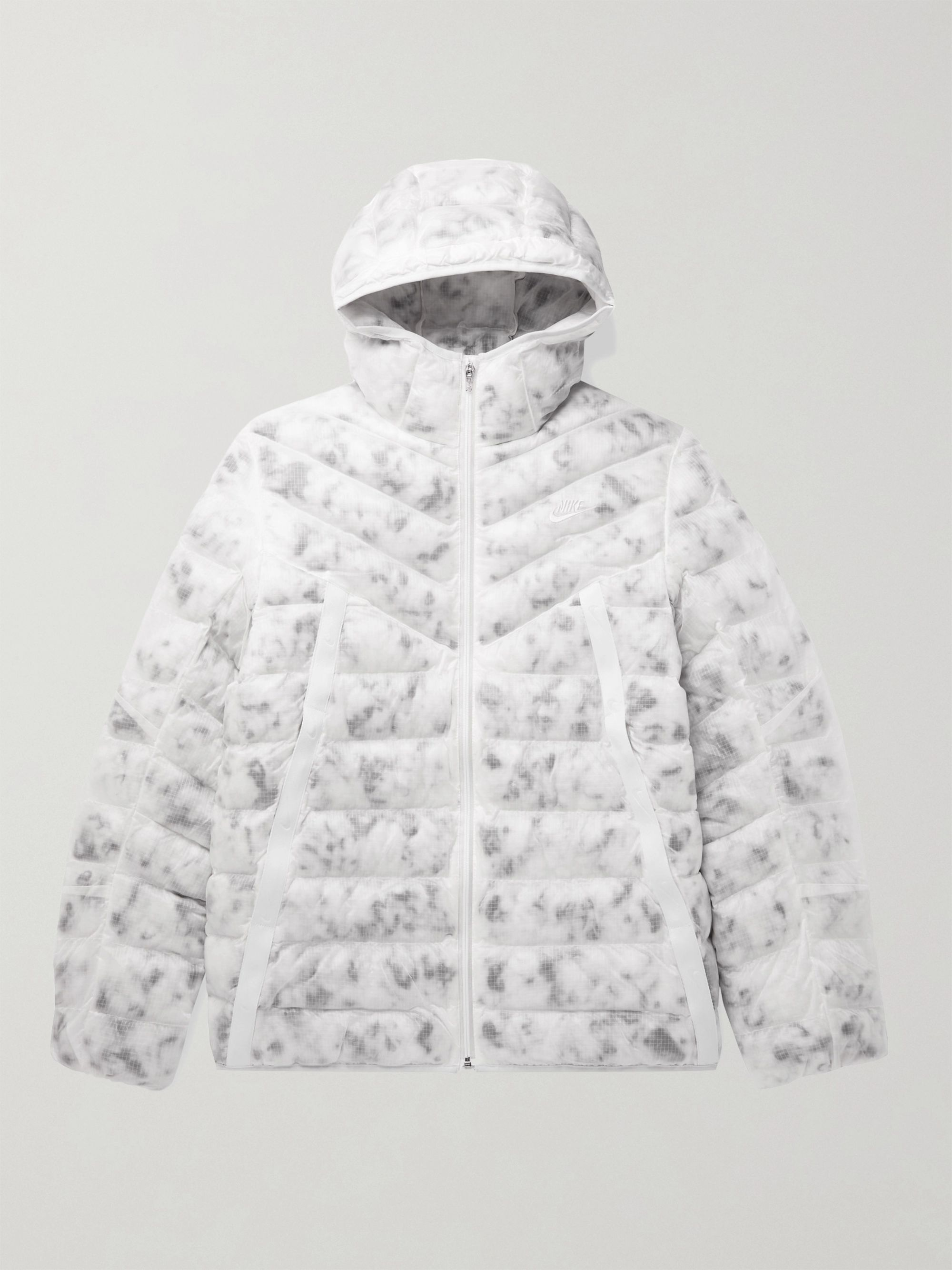 NIKE Sportswear Logo-Embroidered Quilted Camouflage-Print Shell Jacket