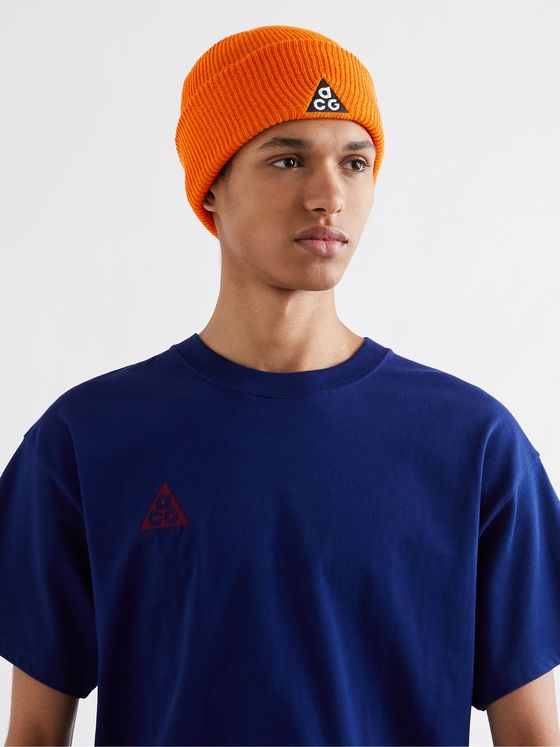 NIKE ACG NRG Logo-Embroidered Appliquéd Ribbed-Knit Beanie