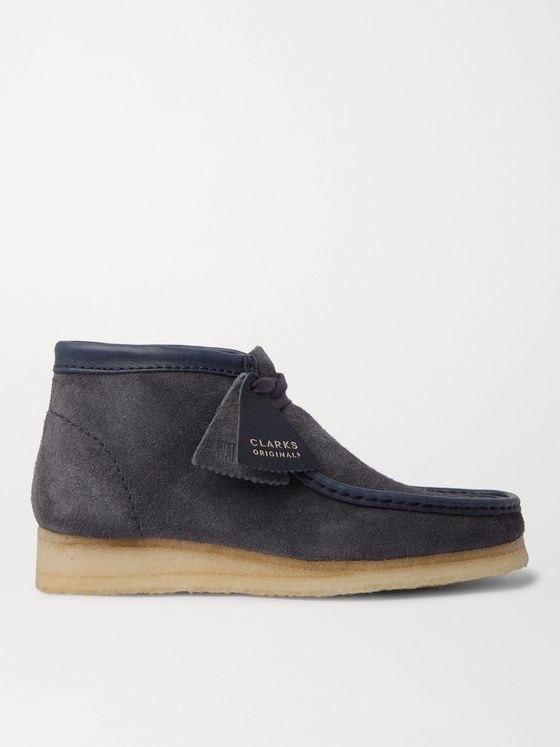 CLARKS ORIGINALS Wallabee Leather-Trimmed Brushed-Suede Desert Boots