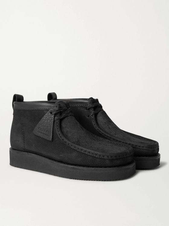 Clarks Originals Wallabee Leather-Trimmed Nubuck and Calf Hair Desert Boots