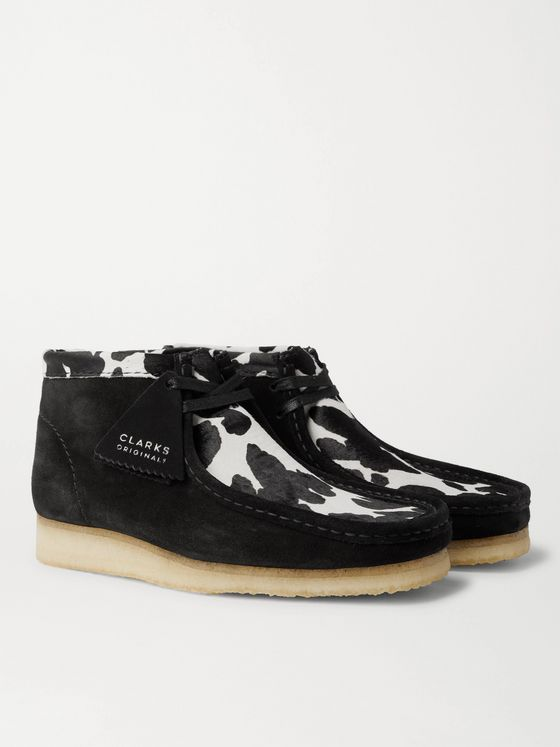 Clarks Originals Wallabee Suede and Cow-Print Faux Pony Hair Desert Boots