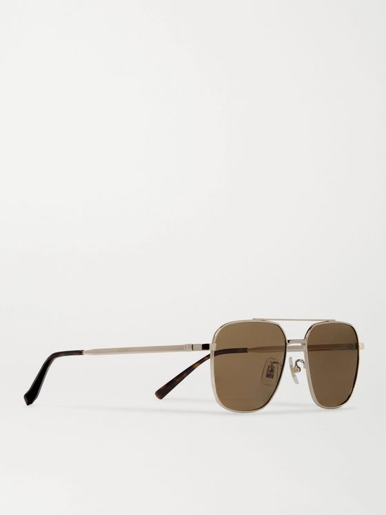 DUNHILL Aviator-Style Gold-Tone and Tortoiseshell Acetate Sunglasses
