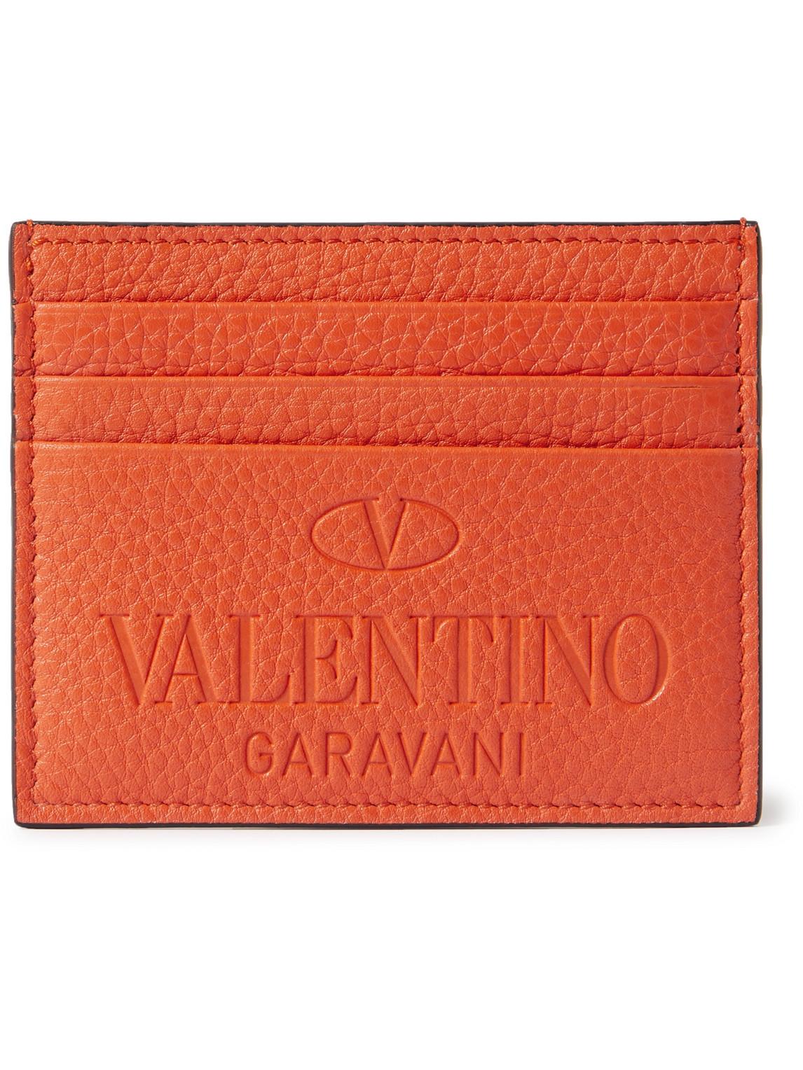 Valentino VALENTINO GARAVANI LOGO-DEBOSSED FULL-GRAIN LEATHER CARDHOLDER