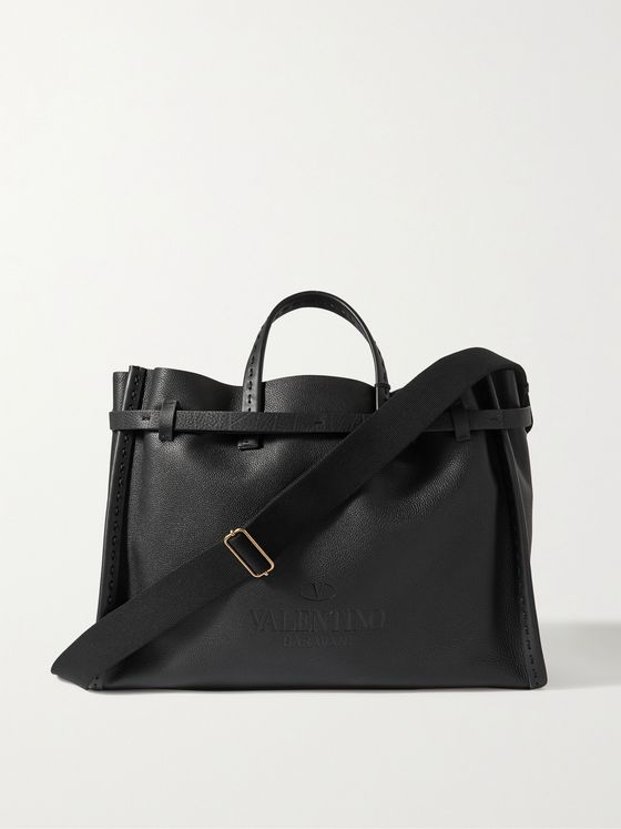 VALENTINO Logo-Debossed Large Full-Grain Leather Tote