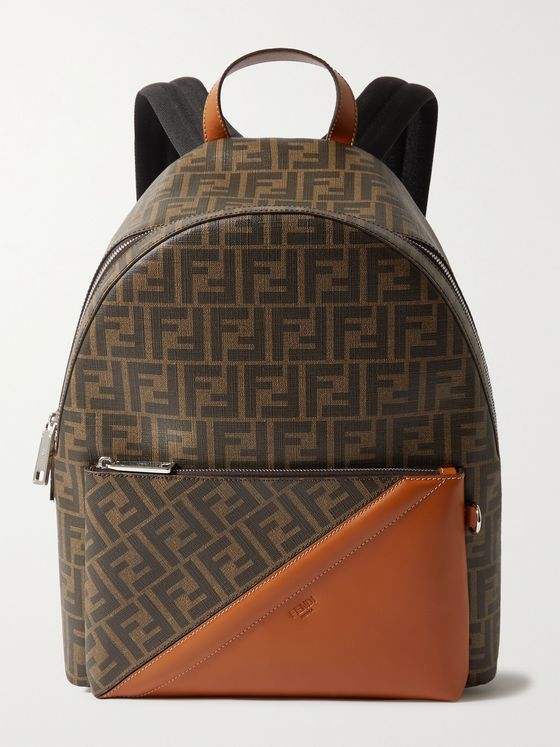 FENDI Leather-Trimmed Monogrammed Coated-Canvas Backpack