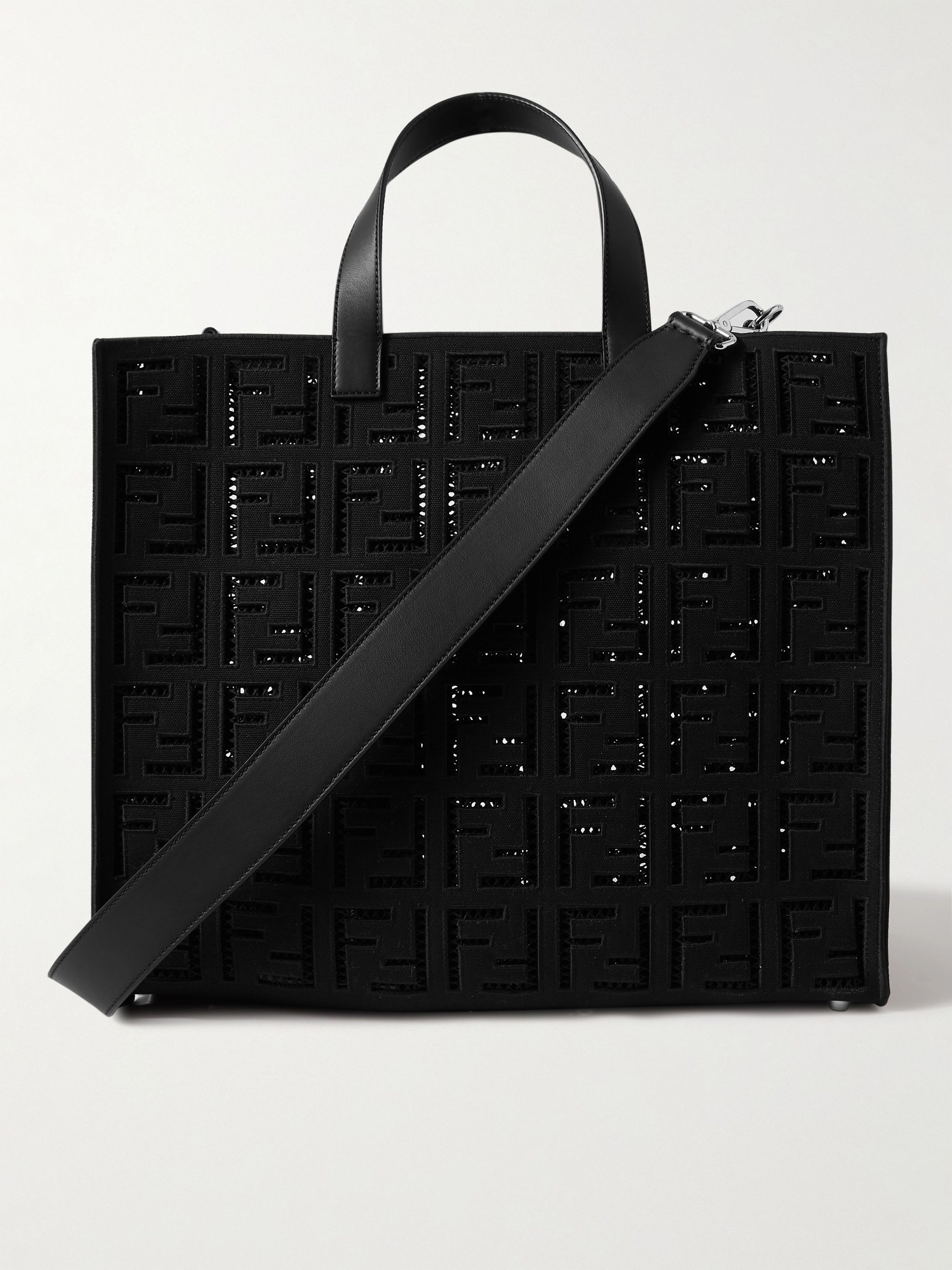 FENDI Logo-Embroidered Leather-Trimmed Cotton-Canvas Tote
