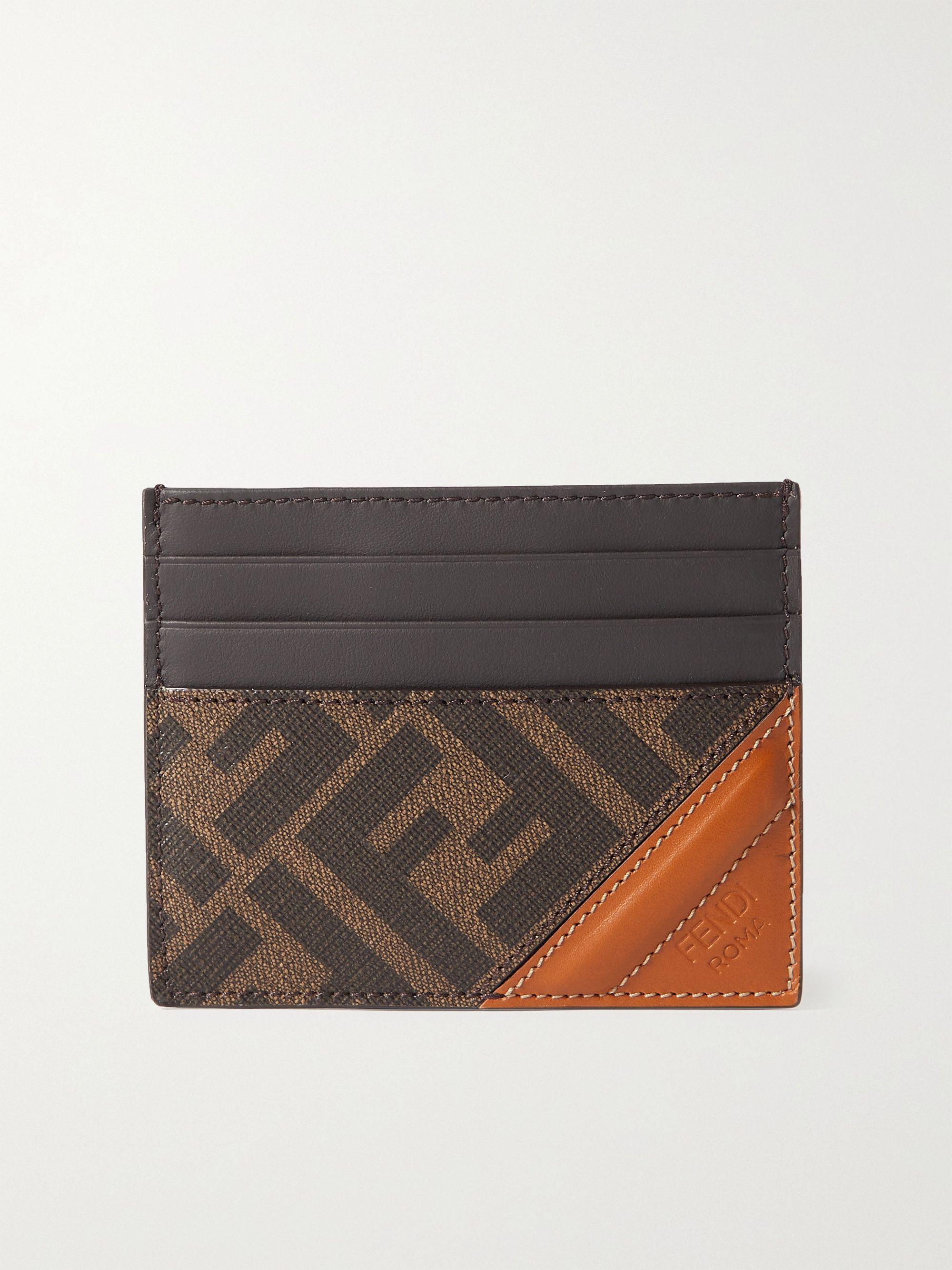 FENDI Leather-Trimmed Monogrammed Coated-Canvas Cardholder
