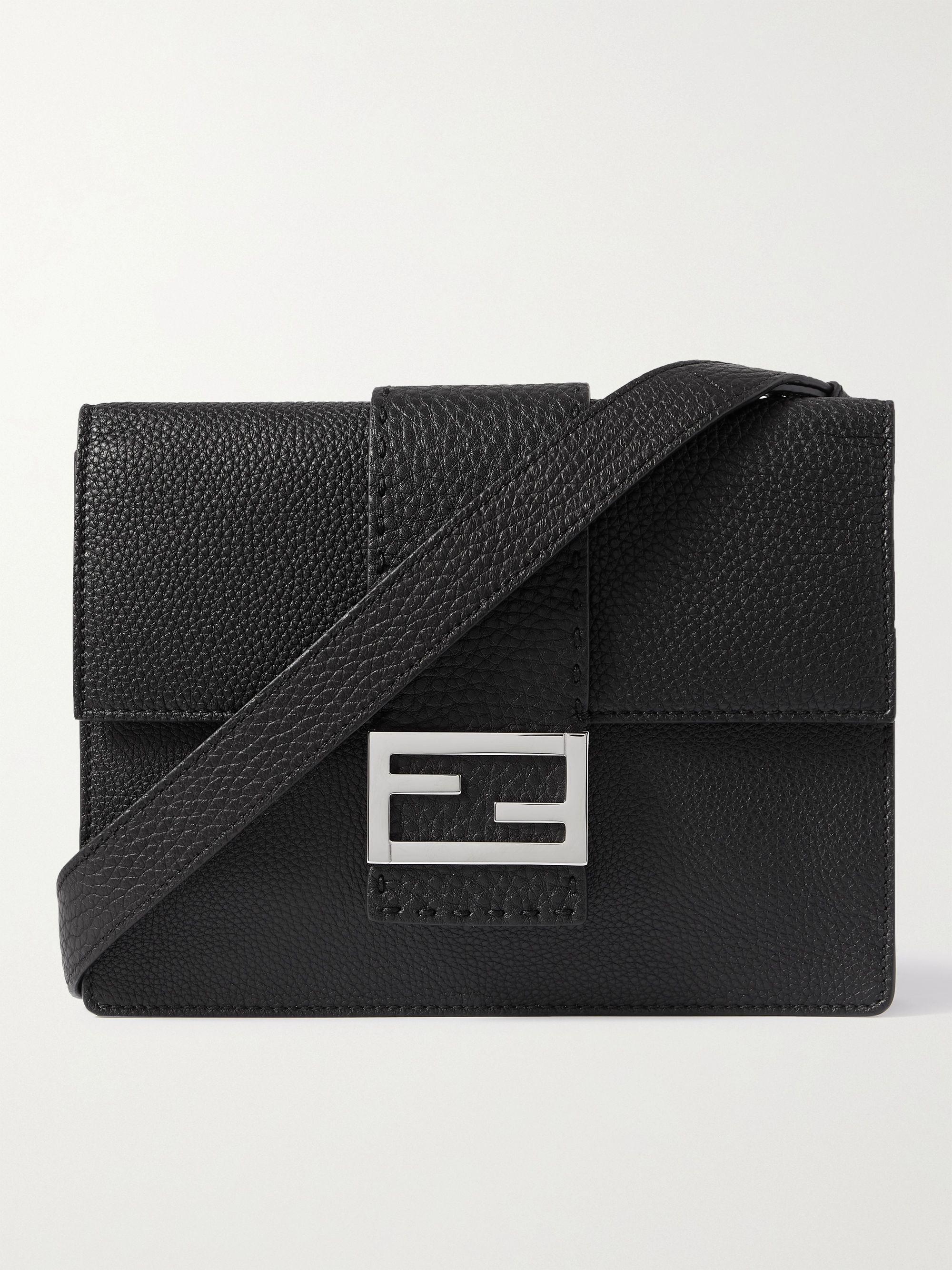 FENDI Flat Baguette Small Logo-Embellished Full-Grain Leather Messenger Bag