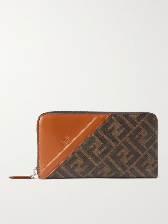 FENDI Leather-Trimmed Monogrammed Canvas Zip-Around Wallet