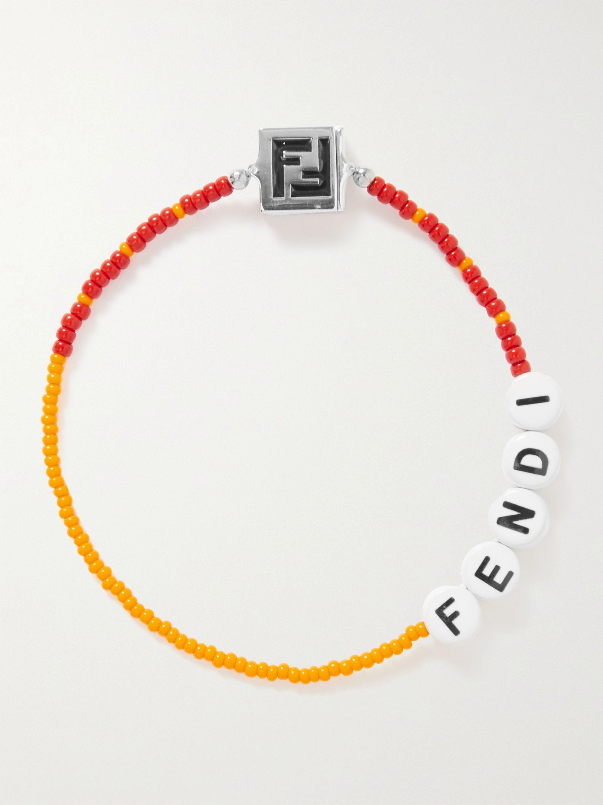 FENDI Logo-Detailed Ceramic and Palladium-Plated Beaded Bracelet
