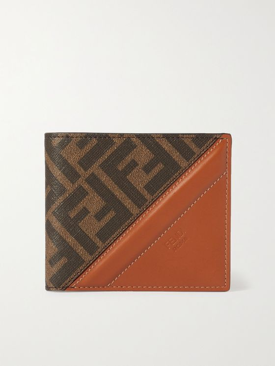 FENDI Leather-Trimmed Monogrammed Canvas Billfold Wallet