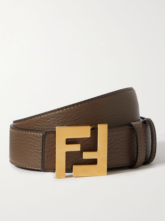 FENDI Reversible Logo-Print Leather Belt