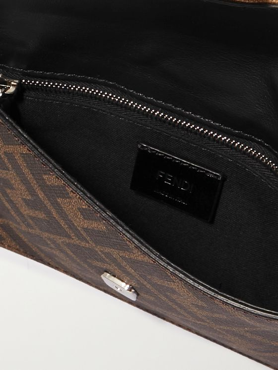 FENDI Baguette Small Leather-Trimmed Monogrammed Coated-Canvas Pouch
