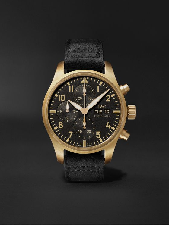 IWC SCHAFFHAUSEN 10 Years of MR PORTER Limited Edition Pilot Automatic Chronograph 41.1mm Bronze and Faux Suede Watch, Ref. No. IW387907