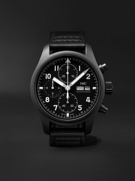 IWC SCHAFFHAUSEN Pilot's Limited Edition Automatic Chronograph 41.1mm Ceratanium and Leather Watch, Ref. No. IW387905