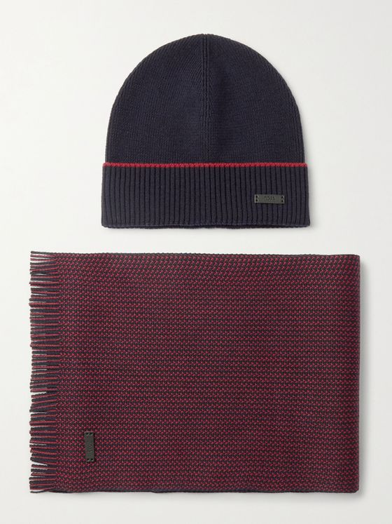 HUGO BOSS Virgin Wool Beanie and Scarf Set