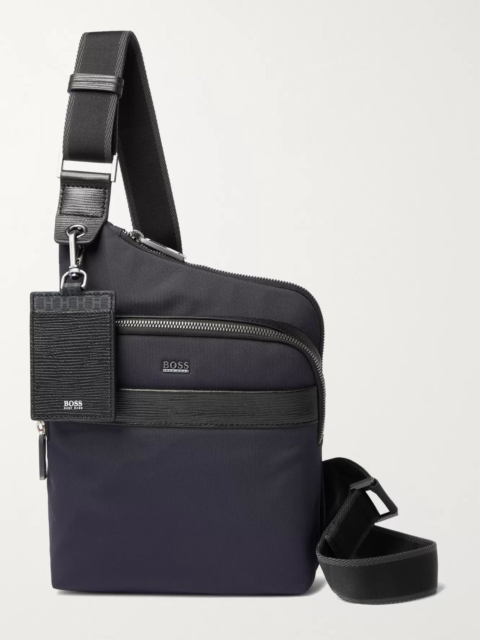 Hugo Boss Textured Leather-Trimmed Shell Messenger Bag,Blue