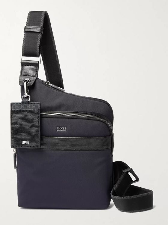 HUGO BOSS Textured Leather-Trimmed Shell Messenger Bag