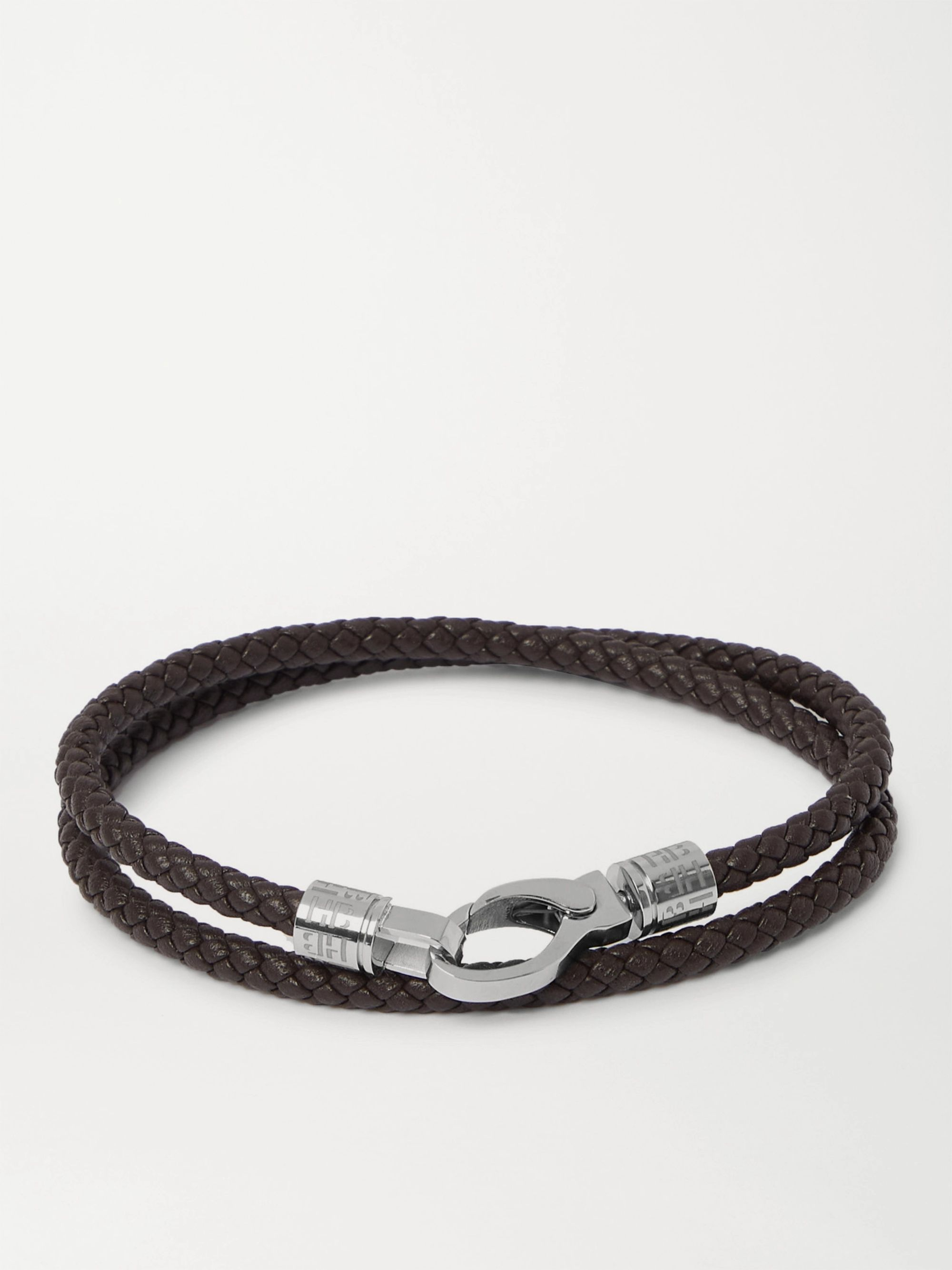 HUGO BOSS Woven Leather and Silver-Tone Wrap Bracelet