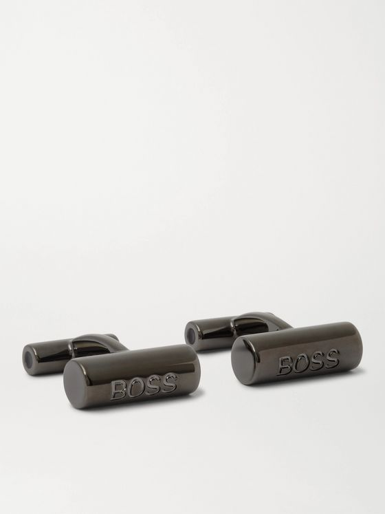 HUGO BOSS Gunmetal-Tone Cufflinks