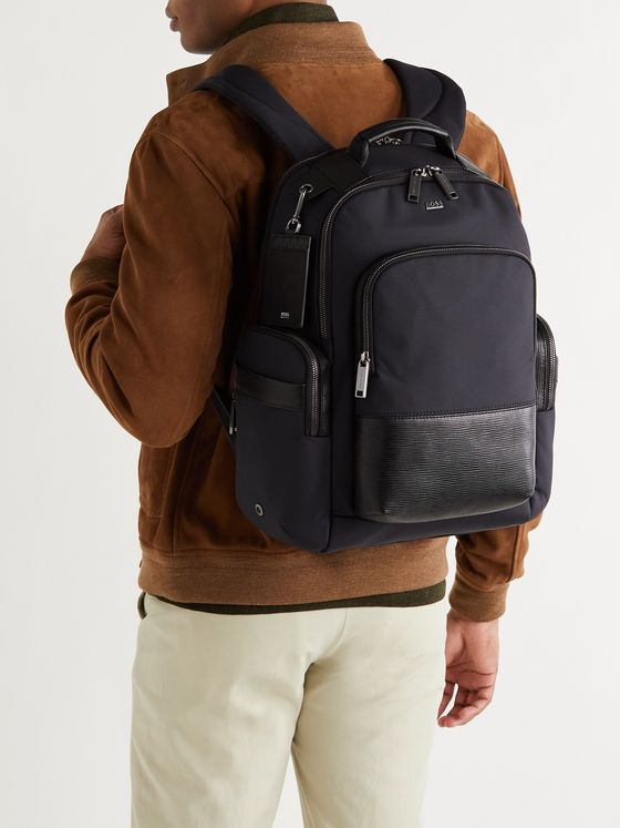 HUGO BOSS Textured Leather-Trimmed Shell Backpack