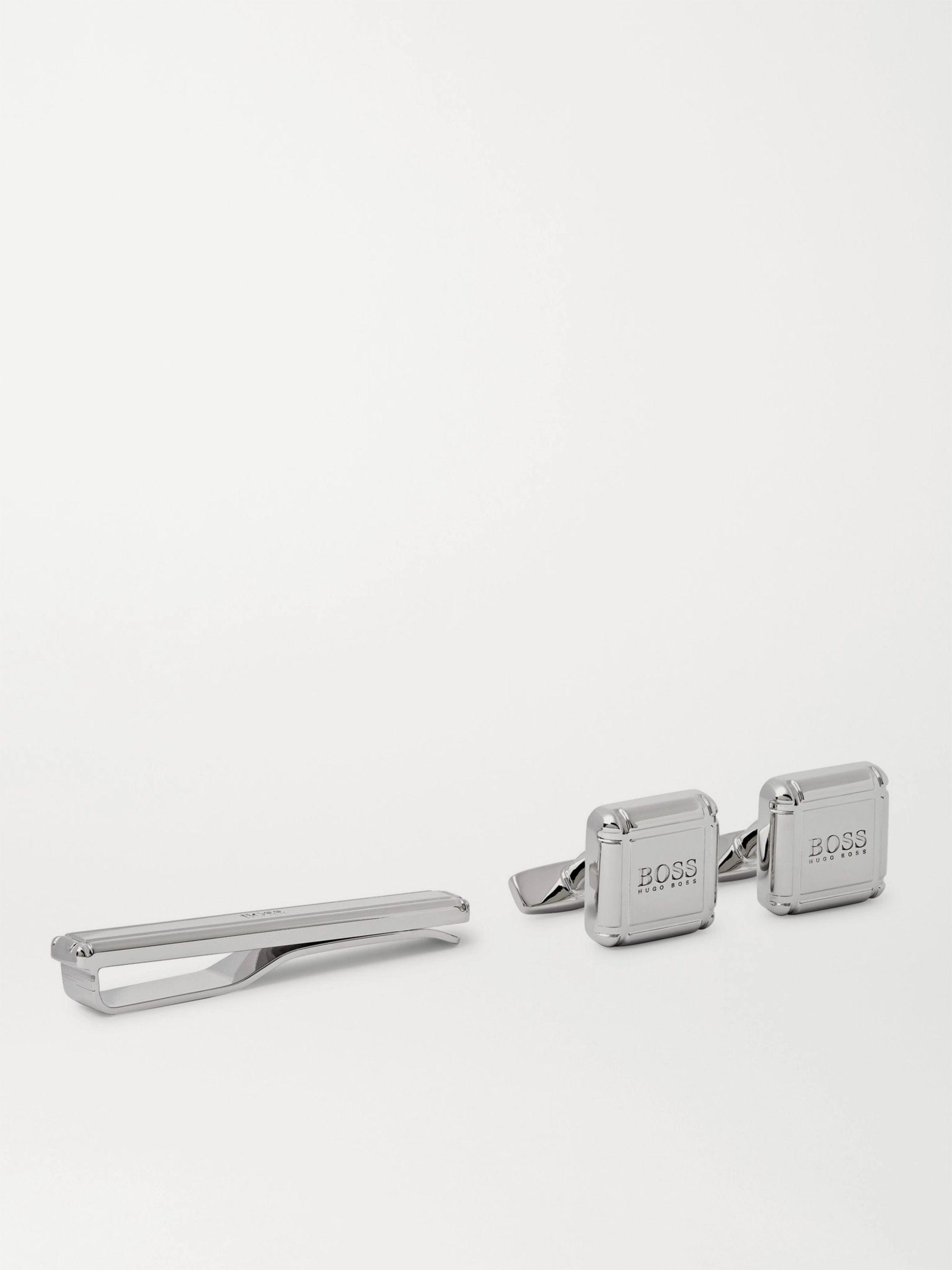 HUGO BOSS Logo-Detailed Silver-Tone Cufflinks and Tie Bar Set