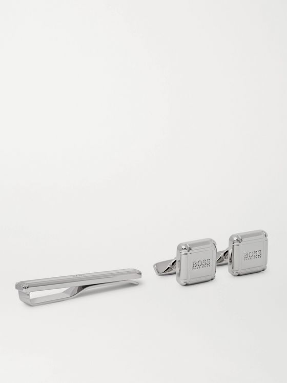 HUGO BOSS Logo-Detailed Silver-Tone Cufflinks and Tie Bar Set