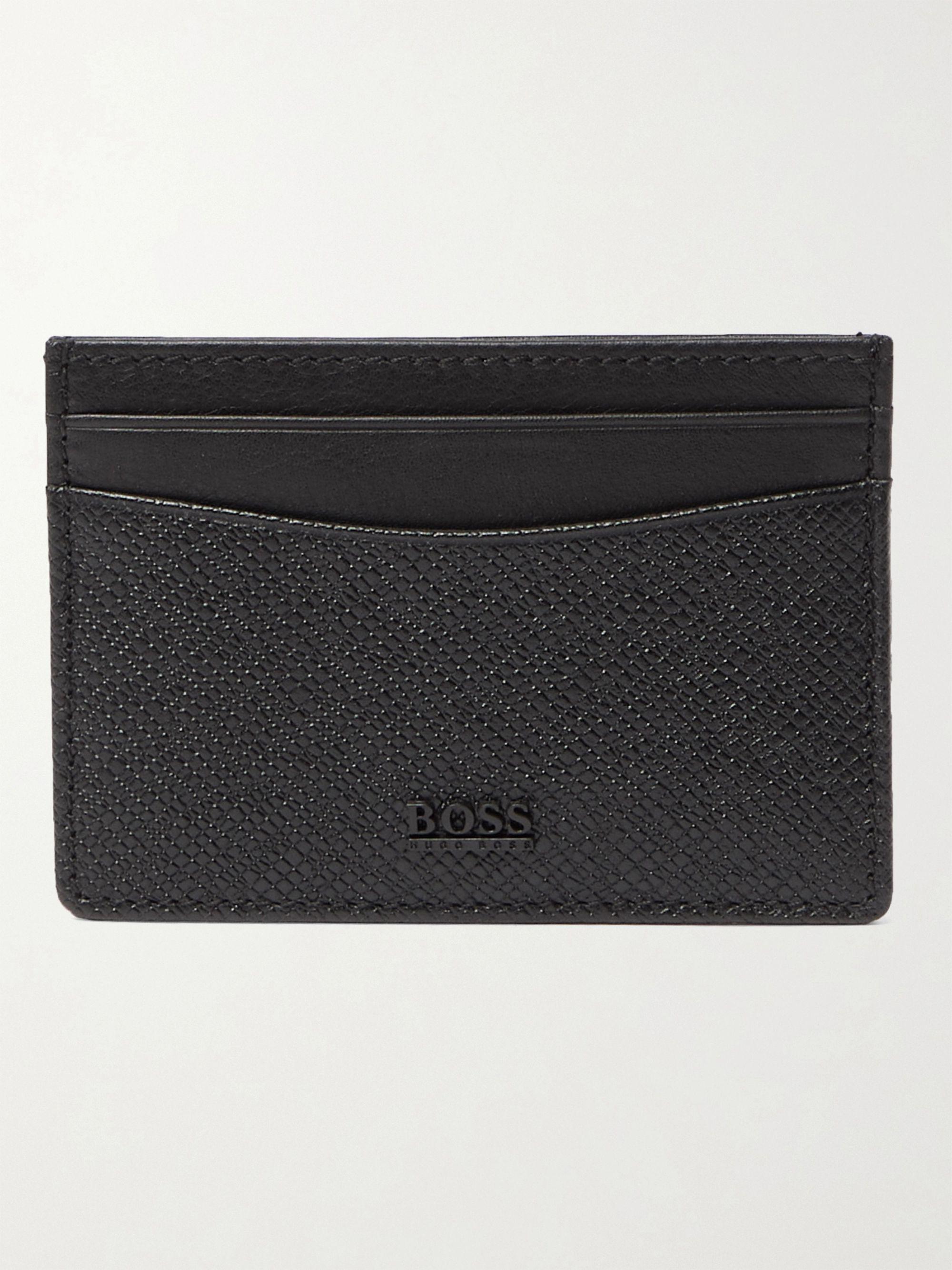Hugo Boss Cross-Grain Leather Cardholder,Black