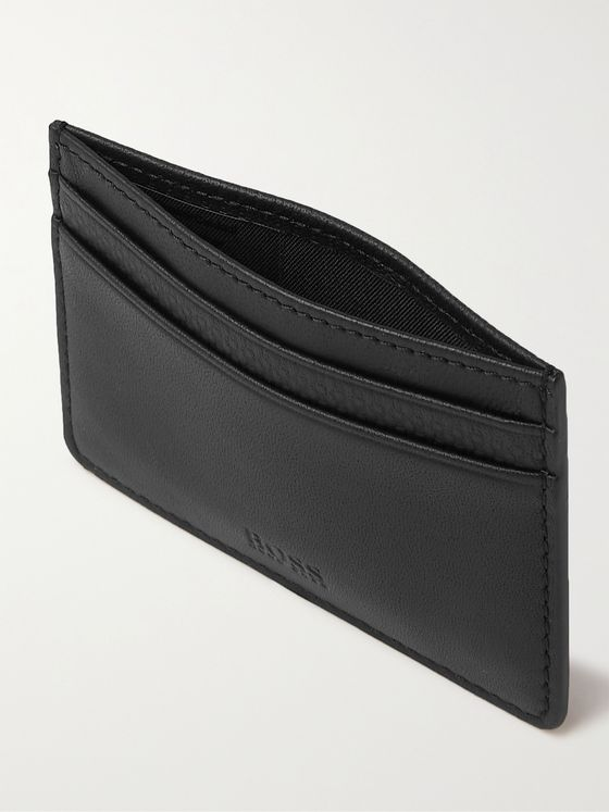 HUGO BOSS Textured-Leather Cardholder and Money Clip Set