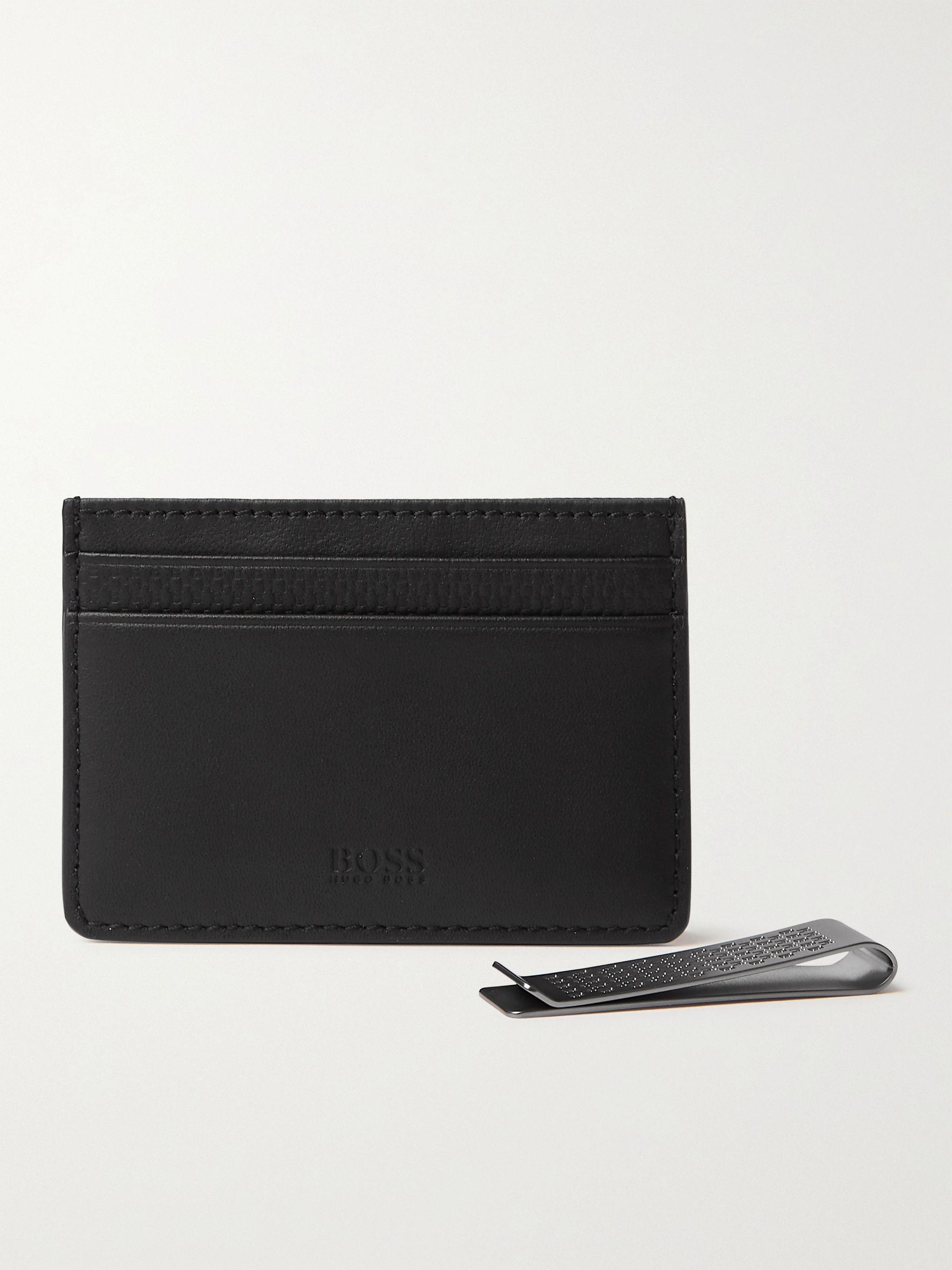 Hugo Boss Textured-Leather Cardholder and Money Clip Set,Black