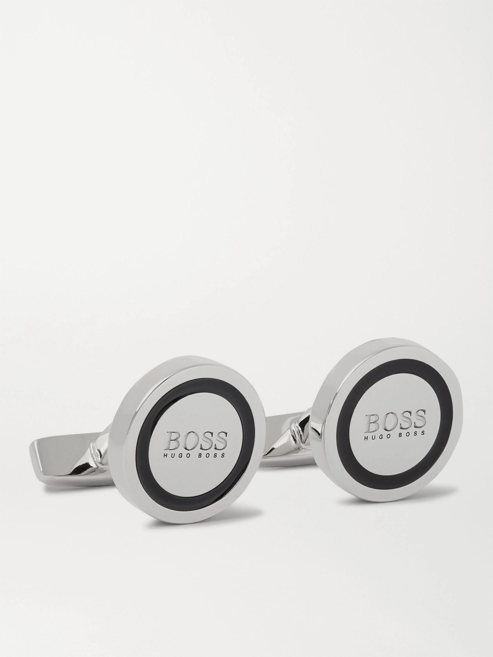 HUGO BOSS Silver-Tone and Enamel Cufflinks