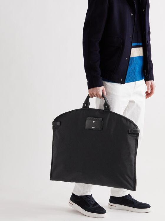HUGO BOSS Leather-Trimmed Nylon Garment Bag
